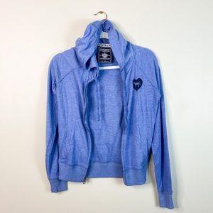PINK Victoria's Secret Small blue hoodie zip up S